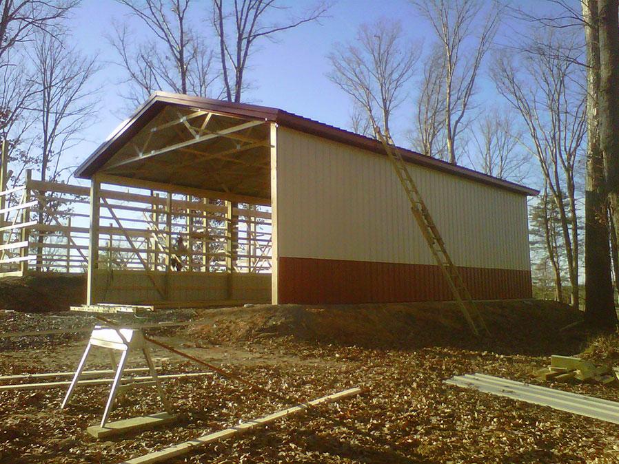 Photo gallery diy pole barns for Hay pole barns